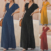 Mode Femme Loose Col V Manche Courte à Pois Longue Fête Robe Dresse Maxi Plus