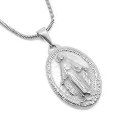 PEF0041 Medal Pendant Virgin Mary Miraculous Steel Silver Communion String