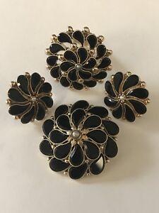 Victorian 14K Gold Onyx Pendant Brooch Earrings Ring Set Jewelry , 21.8 Grams