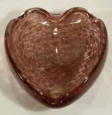 "Mid-Century Murano Cranberry And Gold Fleck 7"" Heart Shaped Ashtray/Bowl/Dish"