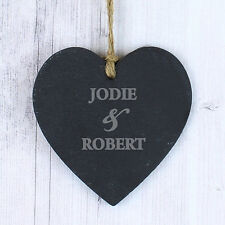 Personalised COUPLES Slate Heart Sign Plaque His and Hers Gift Valetines