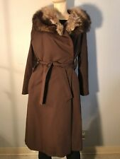 Vintage Womens Long Faux Fur Lined Real Fur Trim Brown Trench Coat With Defects