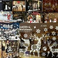 Merry Christmas Vinyl Window Shop Removable Wall Sticker Santa Claus Snowman Elk