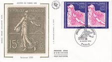 Enveloppe 1er jour FDC Soie 1996 - Journée du timbre Marianne de Gandon Carnet