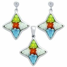 MILLEFIORI SET: MULTI-COLOR 14X15MM STAR SHAPED EARRINGS WITH CZ POST & PENDANT