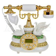 Kmise Ceramic Retro Antique Style Push Button Dial Desk Telephone White for Home