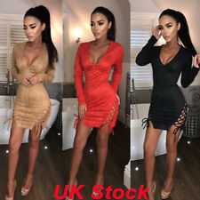 UK Women's Fashion Slit Bodycon Long Sleeve Evening Party Cocktail Mini Dresses