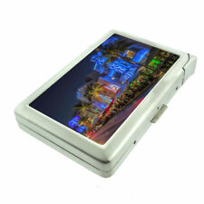 Florida Miami Beach D3 Cigarette Case with Built in Lighter Metal Wallet