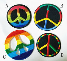 Rainboe Peace Red Yellow Blue Orange Embroidered Applique Cool Iron on Patch(AL)