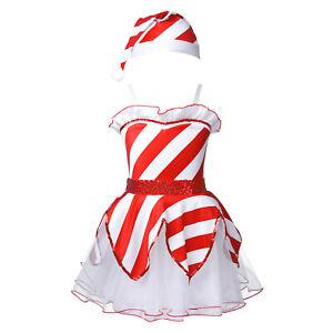 Kids Girls Christmas Costume Santa Claus Dancewear Sequins Striped Leotard Dress