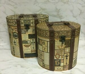 Set of 2 Nesting Decor Tote Carry Case Storage Boxes