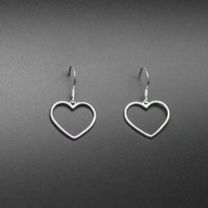 925 Sterling Silver Hollow Love Heart Dangle Hook Earrings