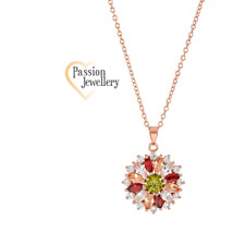 18K Rose Gold Plated Fashion Necklace Featuring 25 Multi Coloured Zircon
