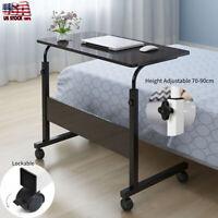 Black Height Adjustable Rolling Laptop Desk Cart Over Bed Hospital Table Stand