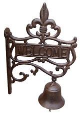 """Gusseisen Glocke Wandglocke Türglocke """"Welcome"""" braun im Landhausstil Nostalgie"""