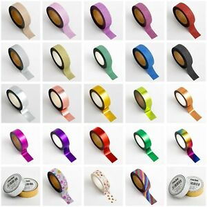 Glitter Foil Patterned Washi Tape 15mm x 10m Repositionable Adhesive Roll