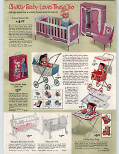 1963 PAPER AD Doll Ideal Thumbelina Tiny Chatty Baby Buggy Stroller Cradle Crib