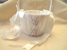 Satin Flower Girl Basket White Champagne Beads Ribbons