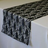 14 x 108 inch Lace Table Runner Black