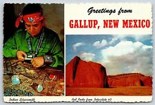 Greetings from Gallup, New Mexico Red Rocks I-40 Indian Continental Postcard New