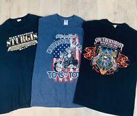 Motorcycle Biker T-Shirts Men's Medium Lot of 3 Black and Blue