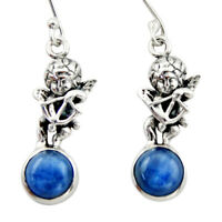 7.89cts Natural Blue Kyanite 925 Sterling Silver Angel Earrings Jewelry D46786