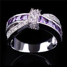Bowknot Purple Amethyst Finger Ring Cross Zircon Band White Gold Filled Sz 4-12