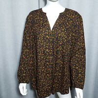 Old Navy Womens Size XL Black Orange Red Button Up VNeck Floral Tunic Shirt