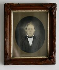 AAFA Antique Vermont Watercolor Portrait Arts and Crafts Mission Walnut Frame
