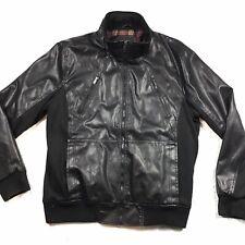 Guess Vegan Faux Leather Bomber Jacket Coat XL Black