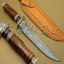 BEAUTIFUL CUSTOM HAND MADE DAMASCUS STEEL HUNTING KNIFE/ BOWIE KNIFE WORK OF ART