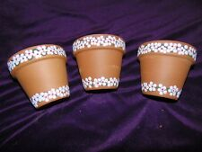 Lot of Three Hand-Decorated Clay Flower Pots - Ready for Spring Plants!!