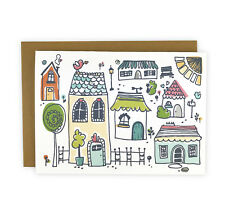 Happy Home Set of 10 Illustrated Note Cards, Boxed Stationery Set, Housewarming