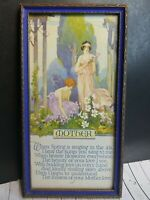 Vtg Buckbee Brehm Mother Love Spring Poem Wood Framed Early 1900 Lineage On Back