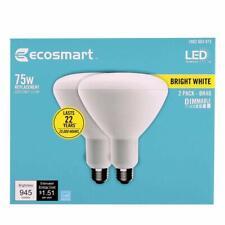 EcoSmart 2-Pack 75-Watt Equivalent BR40 Dimmable LED Light Bulb Bright White