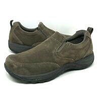 LL Bean Moccasins Brown Nubuck Leather Easy Slip On Shoes Womens Size 7.5 Medium