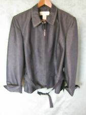 Norton Mcnaughton Size 12 Dressy Jacket Belted Top Stitched Rayon Blend