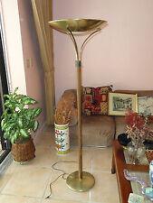 CHIC 60s  MID CENTURY MODERN DANISH STYLE  WOOD FLOOR LAMP BRASS SHADE BOWL
