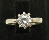 STYLISH STERLING SILVER RING SOLID 925 WITH 5.5MM ROUND CZ NEW SIZE G-Z EMPRESS