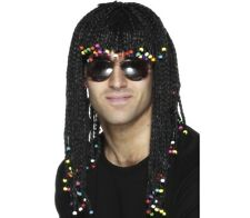 80s Braided & Beaded Fancy Dress Wig Braids Stevie Wonder Black New by Smiffys