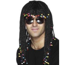 1980s Braided & Beaded Fancy Dress Wig 80s Braids Stevie Wonder Black by Smiffys