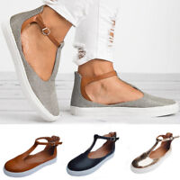 Fashion Women's Out Shoes Round Toe Platform Flat Heel Buckle Strap Casual Shoes