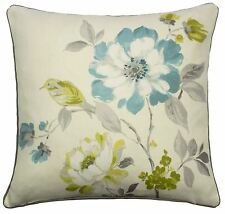 """EXOTIC BIRD FLORAL DUCK EGG BLUE 100% COTTON CUSHION COVER TO MATCH CURTAINS 17"""""""