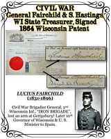 CIVIL WAR General L. Fairchild & S. Hastings, WI State Treasurer, 1864 Signed WI