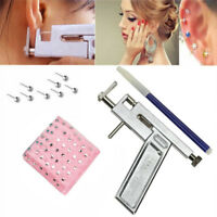 Steel Ear Nose Navel Body Piercing Gun With 98x Studs Tool Kit Set ProfessionWCP