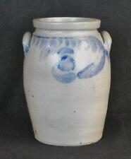 "Antique Stoneware ""Erie"" Handled Jar Cobalt Blue Decoration Nice!"