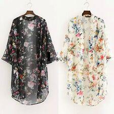 Women Floral Long Sleeve Kimono Coat Chiffon Loose Jacket Top Blouse ILOE