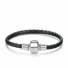 Black Leather And Silver Charm Bracelet 20cm - Bracelet for European Charms
