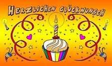 Herzlichen Glückwunsch Geburtstag Torte mit Kerze Fahne Flagge 1,50x0,90m