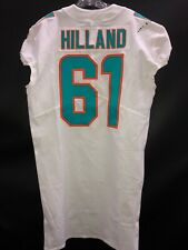 #61 HILLAND  MIAMI DOLPHINS NIKE GAME USED WHITE JERSEY SZ-46 LINE YR-2018 +10L